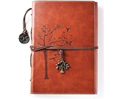 Lined Refillable Vintage Writing Journal for Women, Retro Tree of Life Faux Leather Cover Notebook/Travel Diary,Wide Ruled Pa