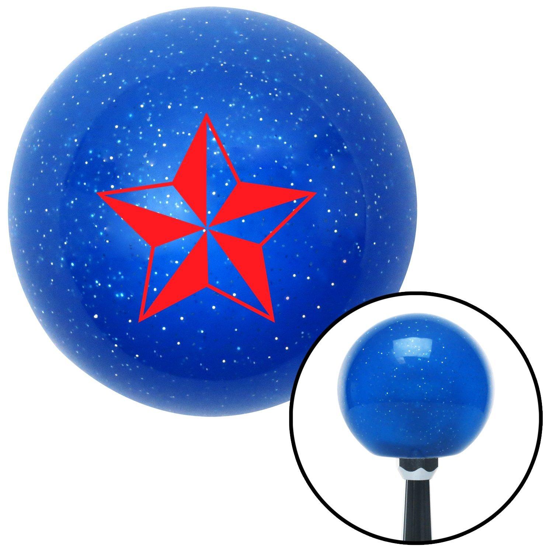 Red Tattoo Star Wide American Shifter 26608 Blue Metal Flake Shift Knob