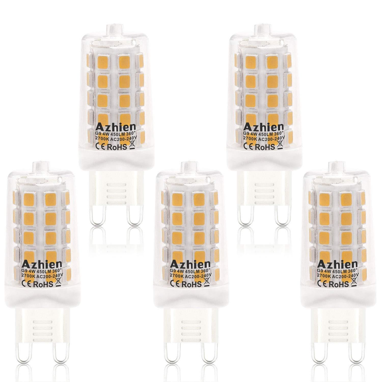Ampoules LED G9 4W, Azhien Ampoule LED 28W 33W 40W é quivalent, Lampes LED Blanches Chaudes 2700K, 200-240V AC, Sans Scintillement, Sans é clairage, Brillant, Angle de 360 ,450Lm, CRI>82, Pack de 5 Azhien Ampoule LED 28W 33W 40W équivalent