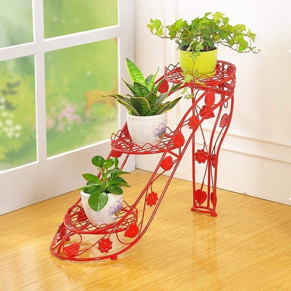 MultifuncióN Estante Almacenamiento Baldas Estante de hierro for macetas de estilo europeo - Tipo de tacón alto, marco de bonsái for muebles de sala de estar, 3 capas (largo x ancho x alto) 66X25X54 c
