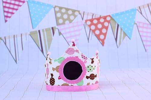 Corona cumpleaños bebés y niña con dibujos de caramelos ...