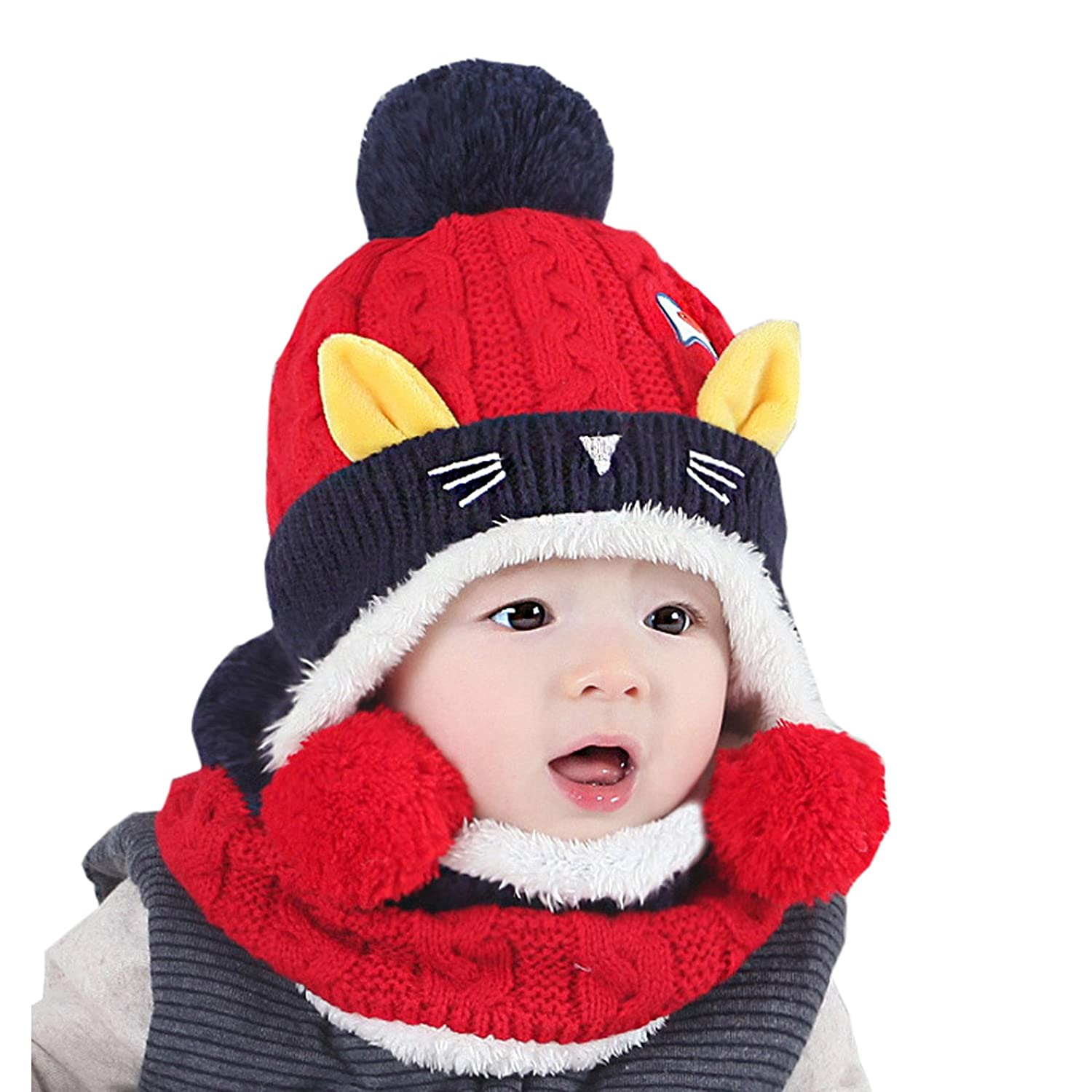 Elonglin Unisex Baby Toddler Kids Knitted Hoodie Scarf Caps Winter Autumn Warm Cute Cat Hooded Scarf Hats Head Scarf Neck Warmer With Soft Plush Lining For 6 months-2 years Red EL.MZ0420-B