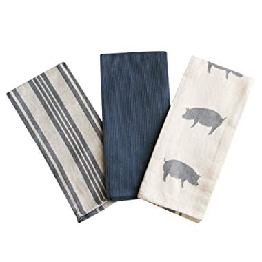 Kitchen Dish Towel by F.E.D, Extra Large Tea Towel in 3 Colours, 100% Professional Cotton, Machine Washable Fabric (Set/Pack of 3) (Navy Pig)