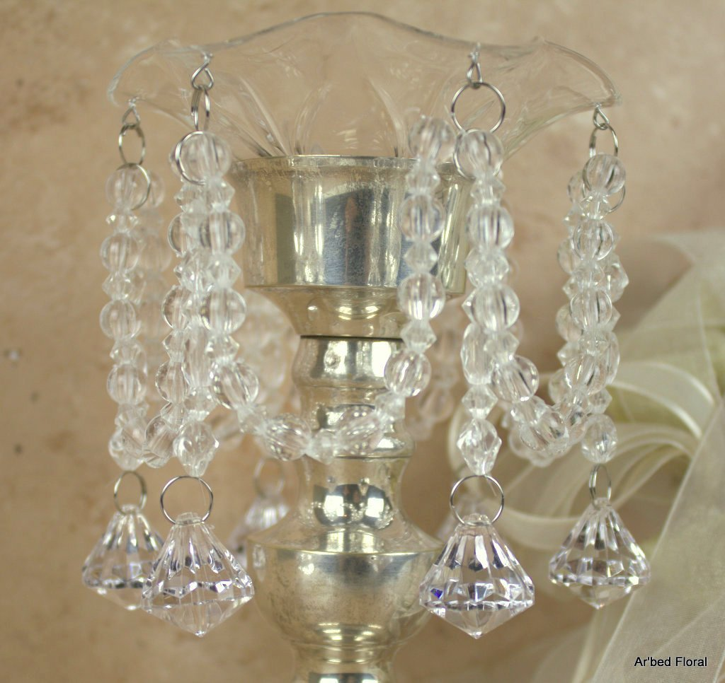 Crystal Clear Acrylic Diamond Drop Bobeche Candle Ring