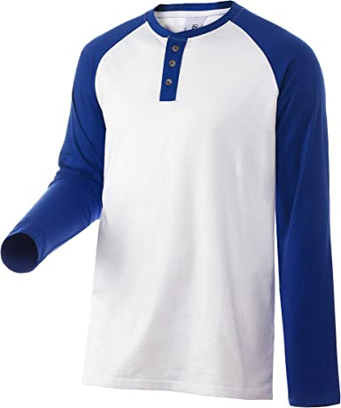 Camiseta Casual Henley con 3 Botones Manga Raglan Larga Colors ...