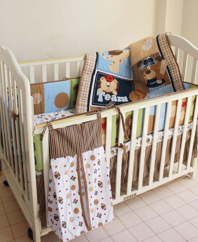NAUGHTYBOSS Boy Baby Bedding Set Cotton Cartoon Bear Play Baseball Pattern Quilt Bumper Bedskirt Fitted Diaper Bag 8 Pieces Set Blue by NAUGHTYBOSS (Image #1)
