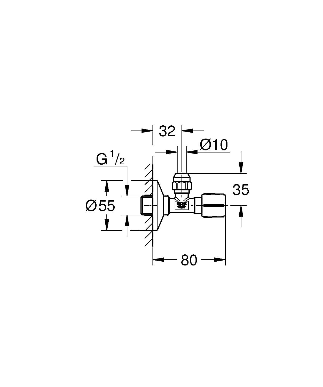 V/álvula de esquina 1//2 acabado cromado StarLight Grohe 22037000 salida 3//8