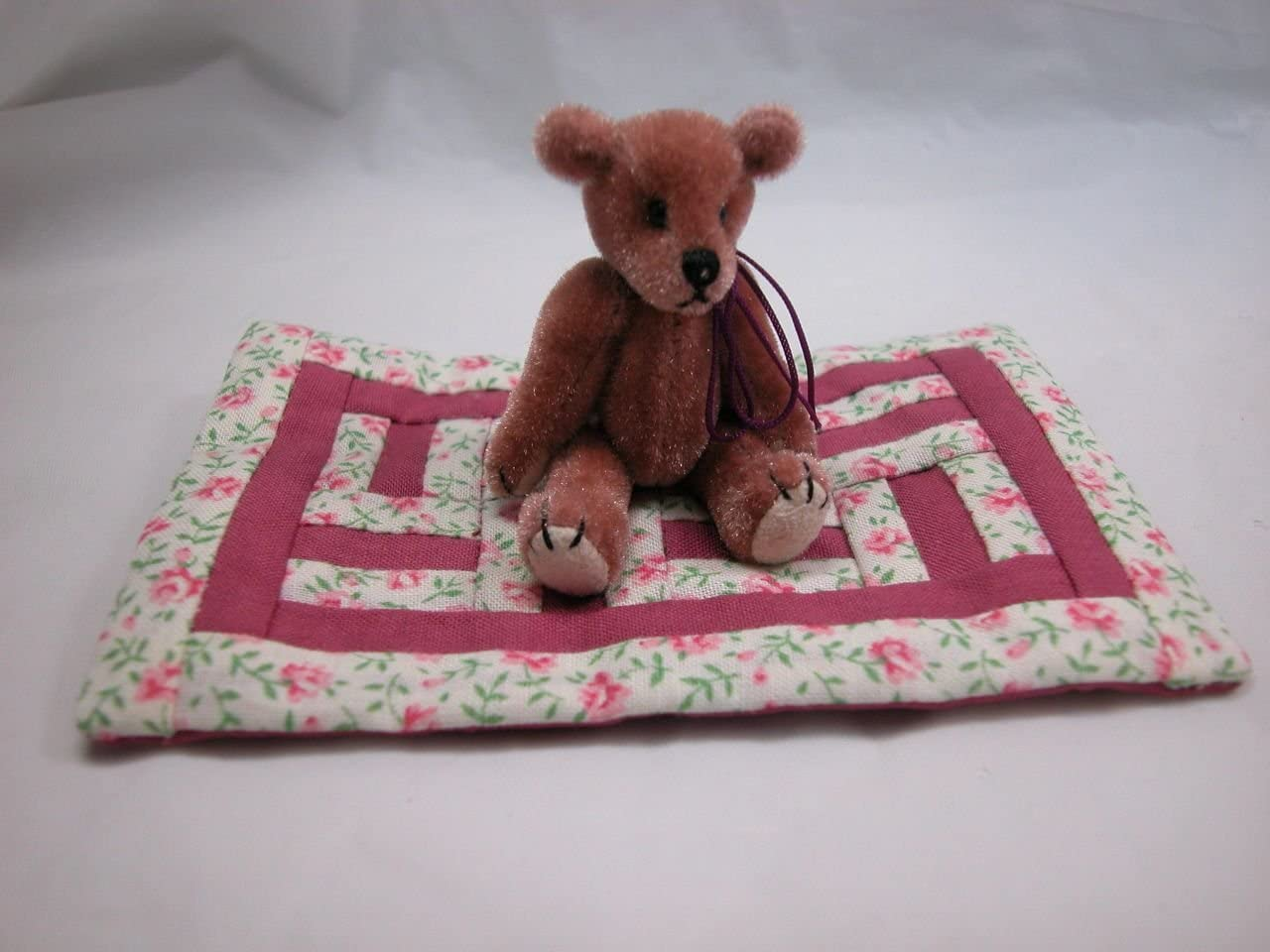 """World of Miniature Bears 2.5"""" Plush Bear with Quilt #5936Q5 Handmade Collectible Miniature"""