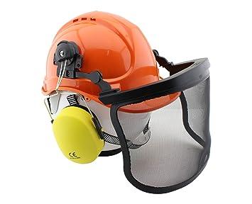 Forsthelm mit Gesichts und Gehörschutz orange