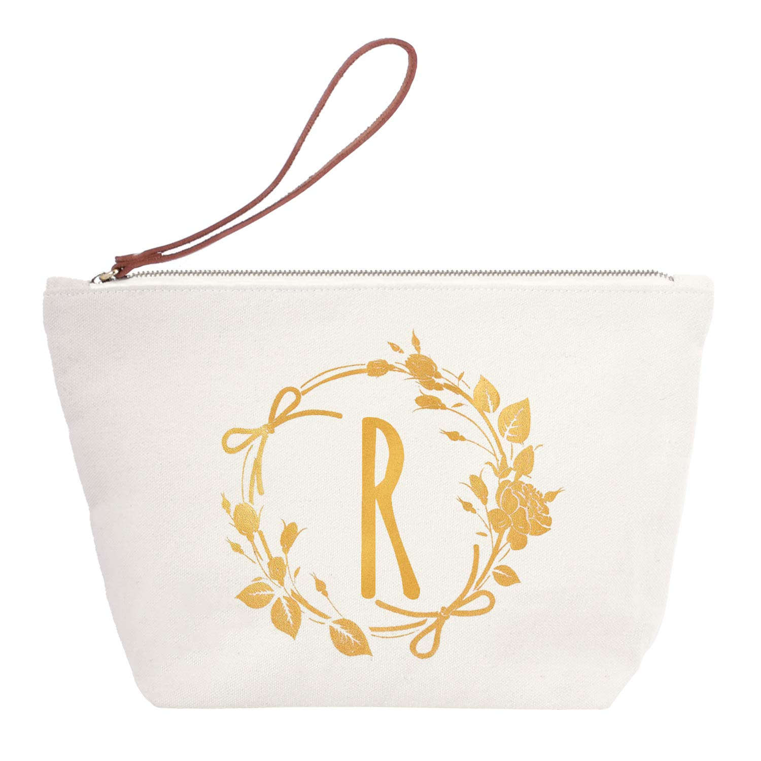 ElegantPark R Initial Monogram Personalized Travel Makeup Cosmetic Bag Wristlet Pouch Gifts with Zipper Canvas
