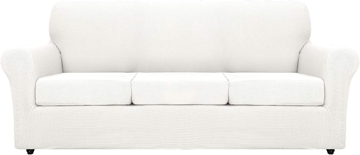 MAXIJIN 4 Piece Extra Large Couch Covers for 3 Cushion Couch Super Stretch XL Sofa Cover Dogs Pet Proof Furniture Protector Spandex Non Slip Couch Slipcover Washable (Extra Large, White)
