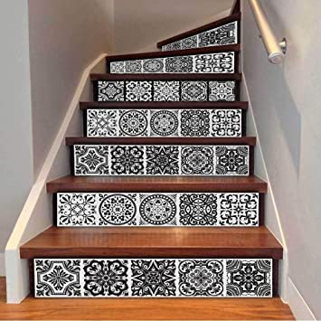 Peinture lienzo Calcomanías for escaleras Marruecos Estilo Escaleras autoadhesivas Pegatinas Baldosas cerámicas PVC Escalera Papel pintado Calcomanía Vinilo Mural Escalera Decoración 6PCS * 18x100CM: Amazon.es: Bricolaje y herramientas
