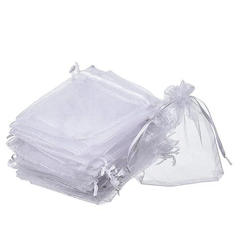 Homiki - 100 bolsitas de organza para regalo, joyas y boda, rectangulares, color blanco