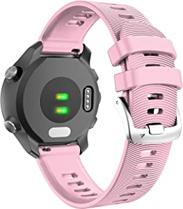 ANCOOL Compatible with Forerunner 245 Watch Bands 20mm Silicone Wristbands Replacement for Forerunner 245/645/Viomove HR/Vivoactive 3 Smartwatches, Pink