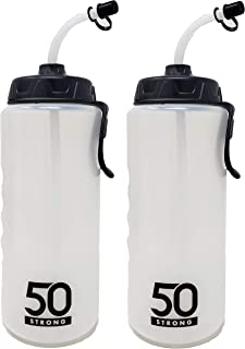 product image for 1 Liter Sports Water Bottle W/Straw - Easy Squeeze + Built in Finger Grip & Carry Loop - BPA Free Plastic - Use W/Sport Helmet in Football & Hockey - Single & Multi-Pack (2-Pack)