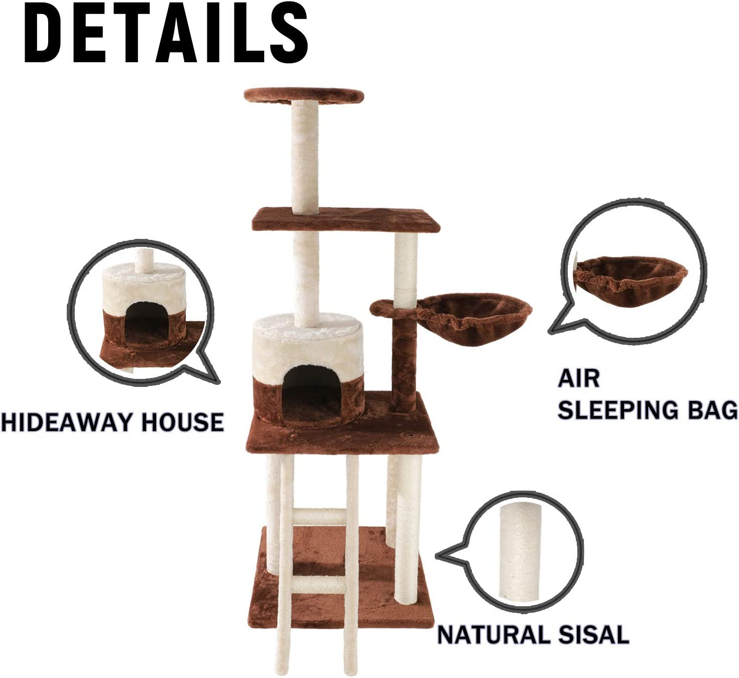 Poils bebe Cat Activity Tree Tower 54-inch Multilevel Play Scratching Post with Ladder Platform Hammock Condo and House for Small Medium and Large Cats and Kittens