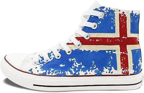 Wen Hi-top pintada a mano lienzo de bandera de Islandia adultos unisex zapatos de Casual zapatillas: Amazon.es: Jardín