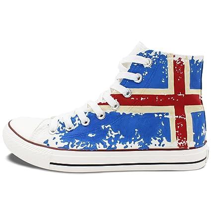Wen Hi-top pintada a mano lienzo de bandera de Islandia adultos unisex zapatos de