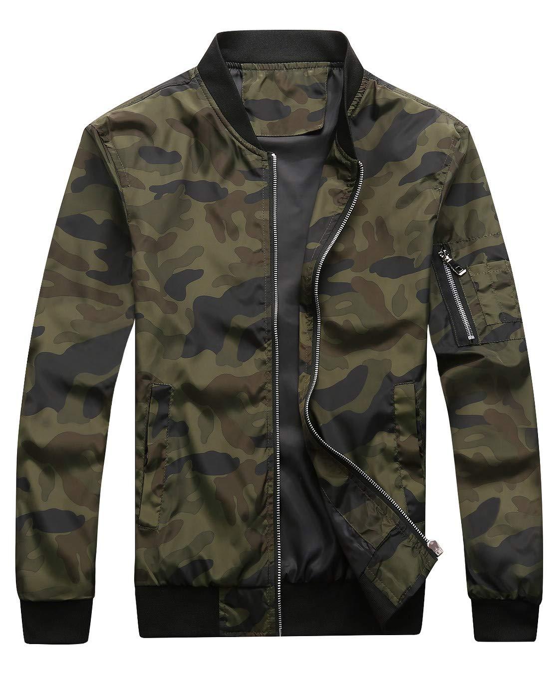 Fairylinks Bomber Jacket Men Camo Print Outwear, Army, Large by Fairylinks