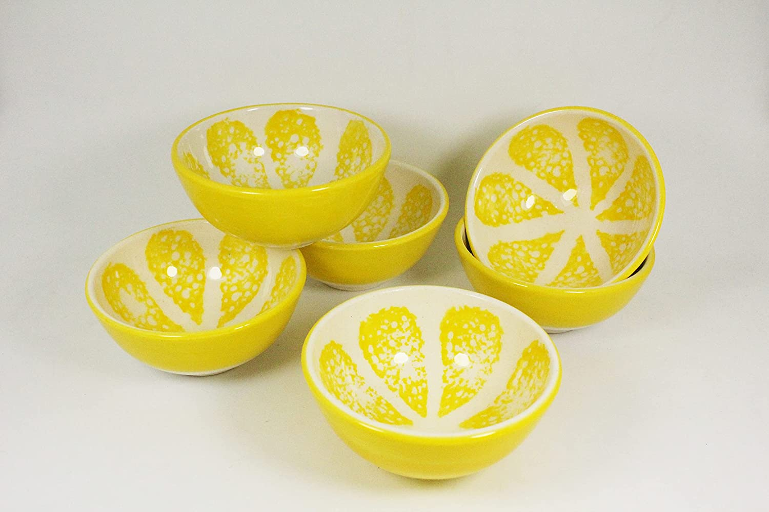 Cute Fruit Lemon Designed Bowls - Ceramic Snack Bowls For Ice Cream Rice Nuts Ketchup Condiment Soy Sauce Sıde Dıshes Prep Serving Bowls For Home Kitchen 6 Pcs - 8 cm - Yellow Color