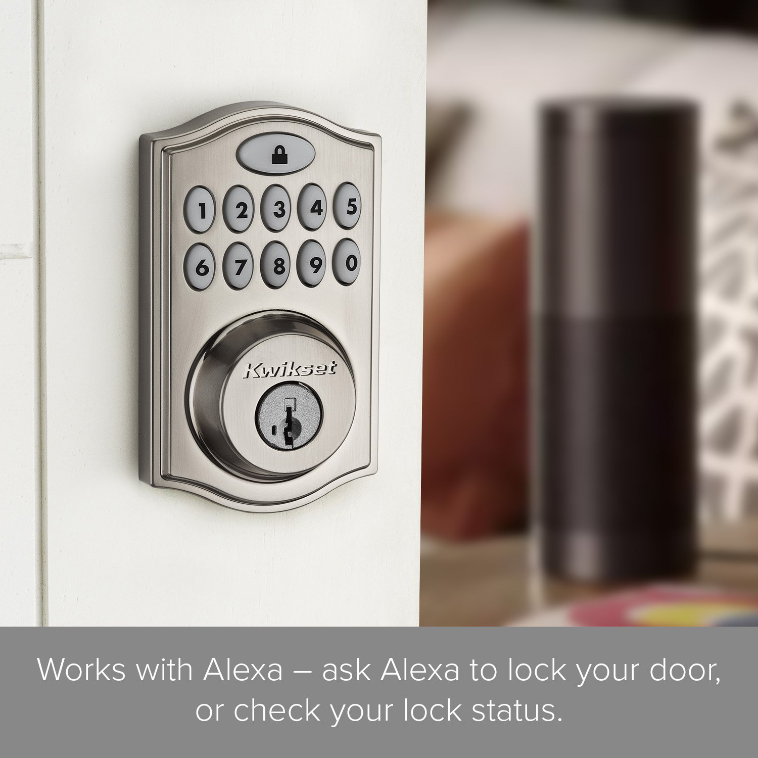lock your door. Kwikset SmartCode 914 Keypad Smart Lock (Amazon Key Edition - Amazon Cloud Cam Required), Works With Alexa, Featuring SmartKey In Satin Nickel Your Door