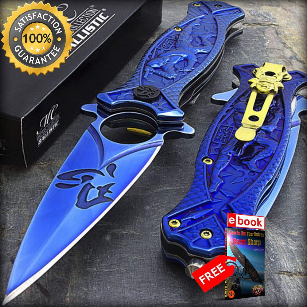 8 BLUE NINJA TI-COATED SPRING ASSISTED FOLDING KNIFE Razor ...