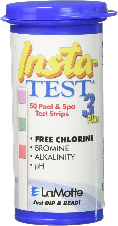 Aura Lamotte Insta-Test - Tira de Prueba de 3 vías para Piscina y SPA (Pruebas de Cloro, bromo, pH y alcalinidad)