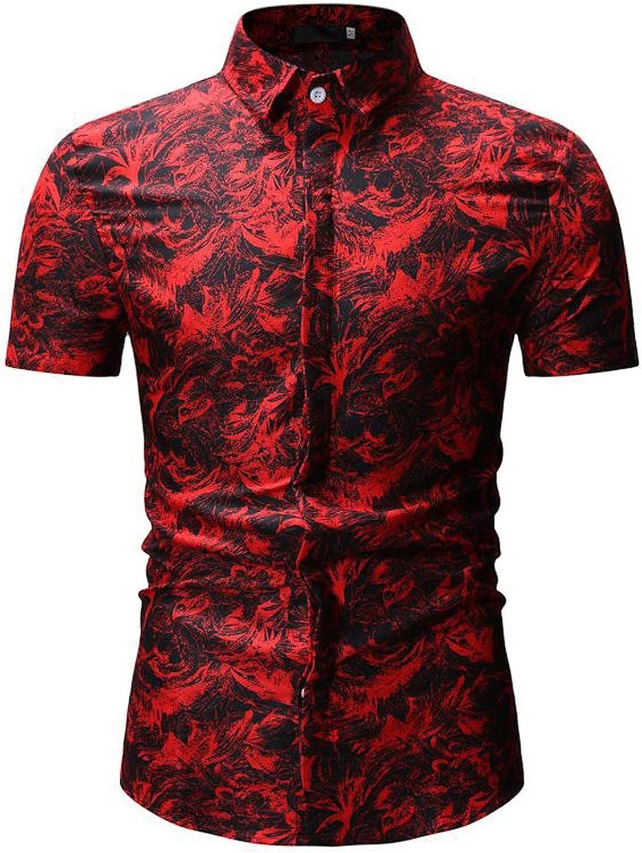 Men Blouse Summer Print Turn-Down Collar Slim Fit Short Sleeve Top Shirt Blouse Men 2019