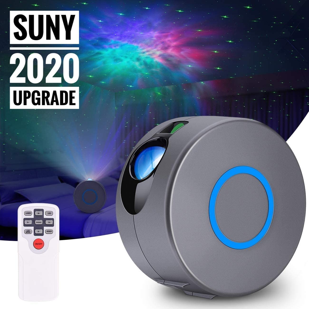 SUNY Galaxy Projector w/RGB Led Nebula Cloud, Green Star Light Projector, Starry Night Light Projector w/Remote Control for Kids Adults Birthday Gift/Bedroom/Game Room/Home Theatre