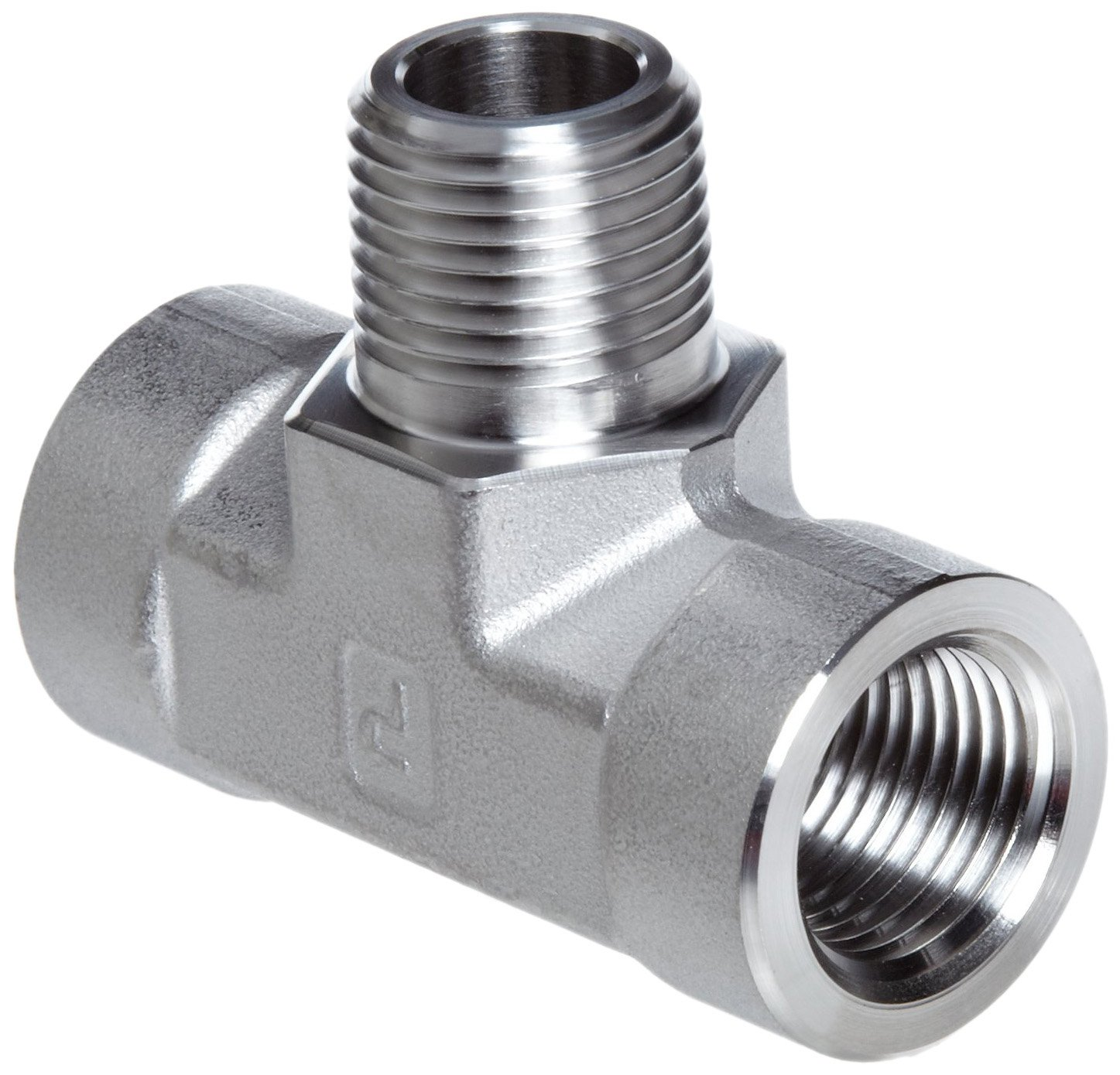 Parker Stainless Steel 316 Pipe Fitting, Branch Tee, 1/4'' NPT Female x 1/4'' NPT Male x 1/4'' NPT Female