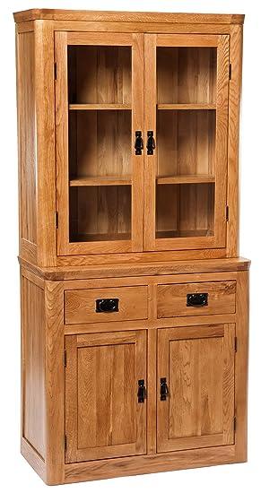 London Solid Oak Small Dresser Display Cabinet In Dark Oak Finish | Narrow  Wooden Storage Cupboard