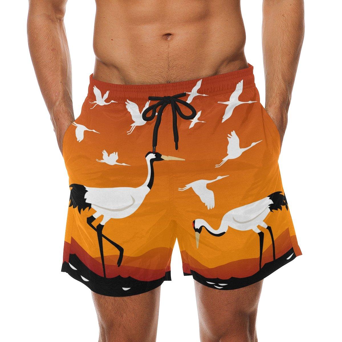 LORVIES Mens Flying Cranes Beach Board Shorts Quick Dry Swim Trunk