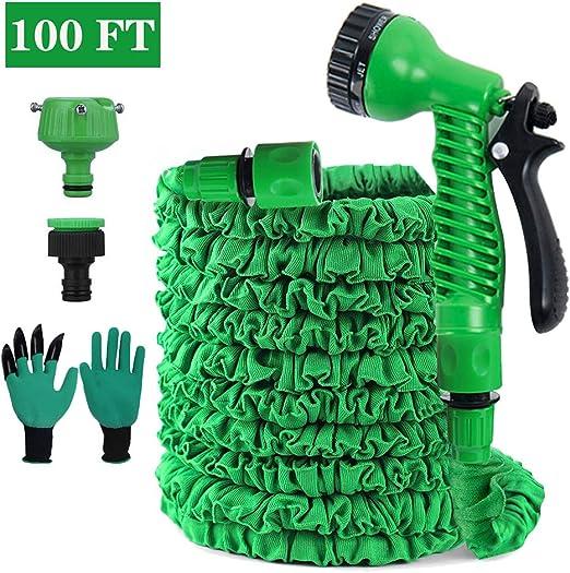 FRGHF Flexible Manguera de jardín, Manguera Estirable Manguera de Agua Tubo Riego con la Presión, Manguera con 8 Funciones Pistola Pulverizadora para riego de jardín, Lavado de Autos (100FT, Green): Amazon.es: Jardín