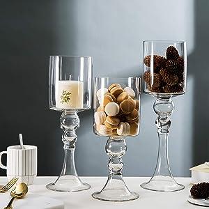 Diamond Star Set of 3 Stemmed Glass Candle Holder Elegant Hurricane Pedestal Tea Light Holders