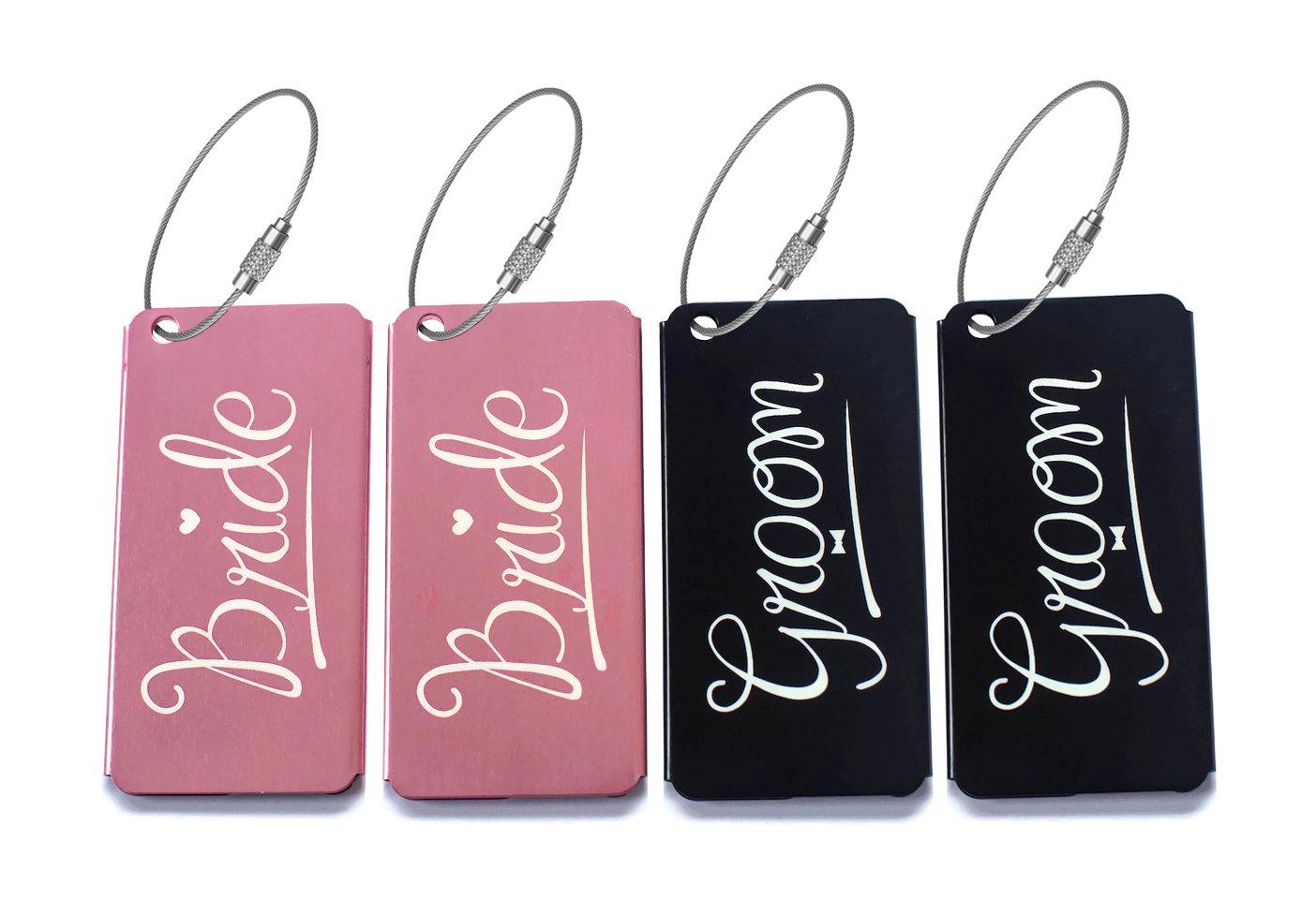Elegant Bride Groom Luggage Tags for Weddings & Bridal Shower Gifts Metal Finish …