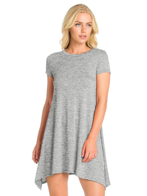 6725c481 FACA Womens Shark Bite Loose Fit Tunic T-shirt Dress (S-XXXL) at Amazon  Women's Clothing store: