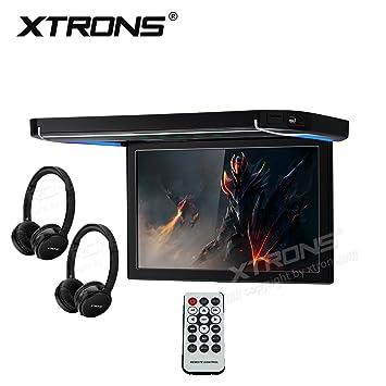 XTRONS 12,1 pulgadas reproductor de vídeo de 1080p coche Overhead montaje en techo monitor HDMI puerto auriculares inalámbricos por infrarrojos: Amazon.es: ...