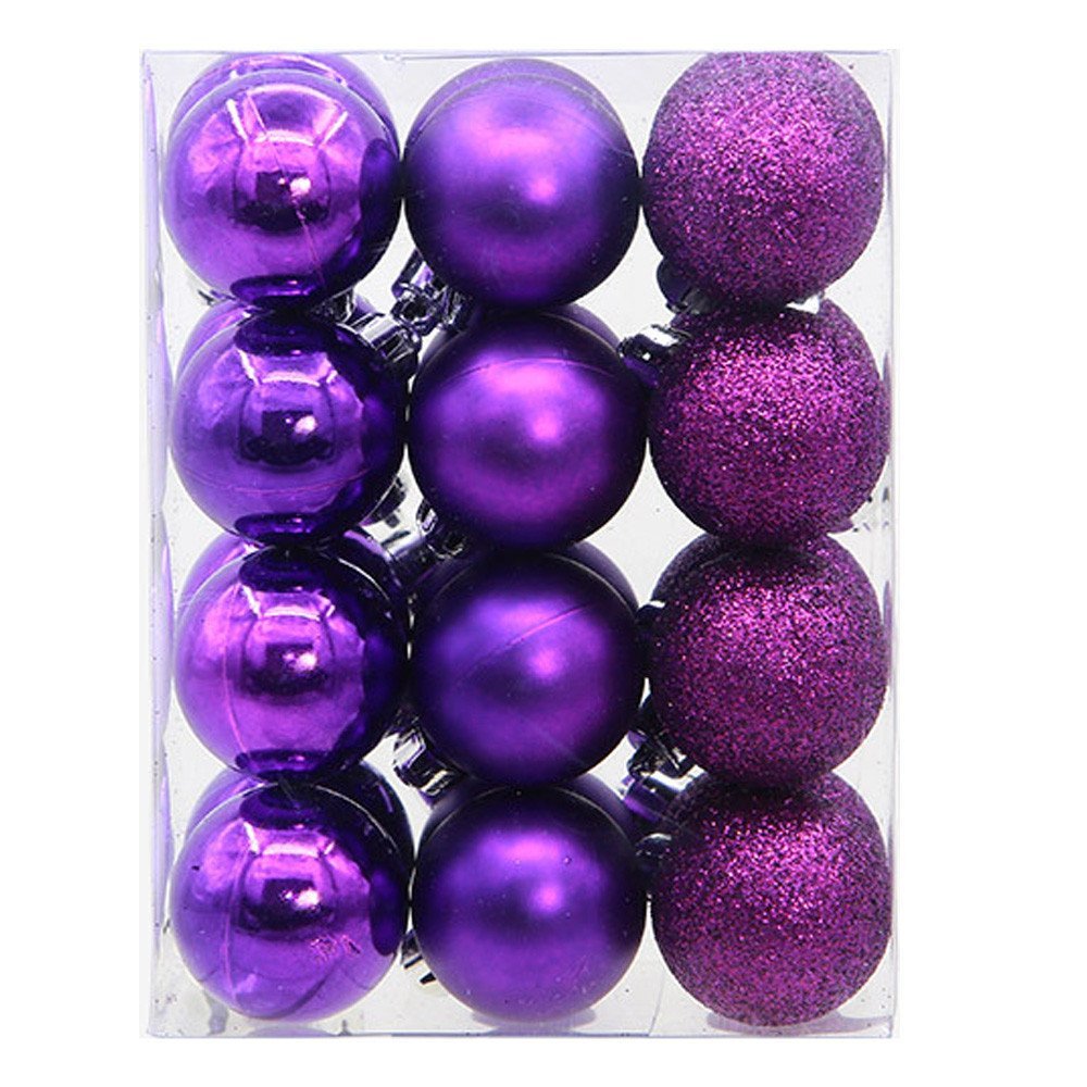24Pcs Christmas Balls Baubles Party Xmas Tree Decorations Hanging Ornament Decor Pendant Accessories New Year Gift (Purple)
