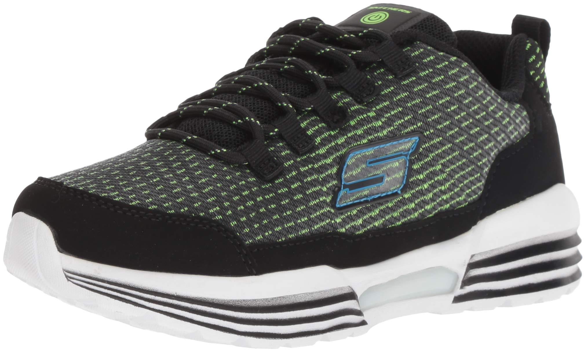Skechers Kids Boys' S Lights-Luminators Sneaker, Black/Lime, 2 Medium US Little Kid