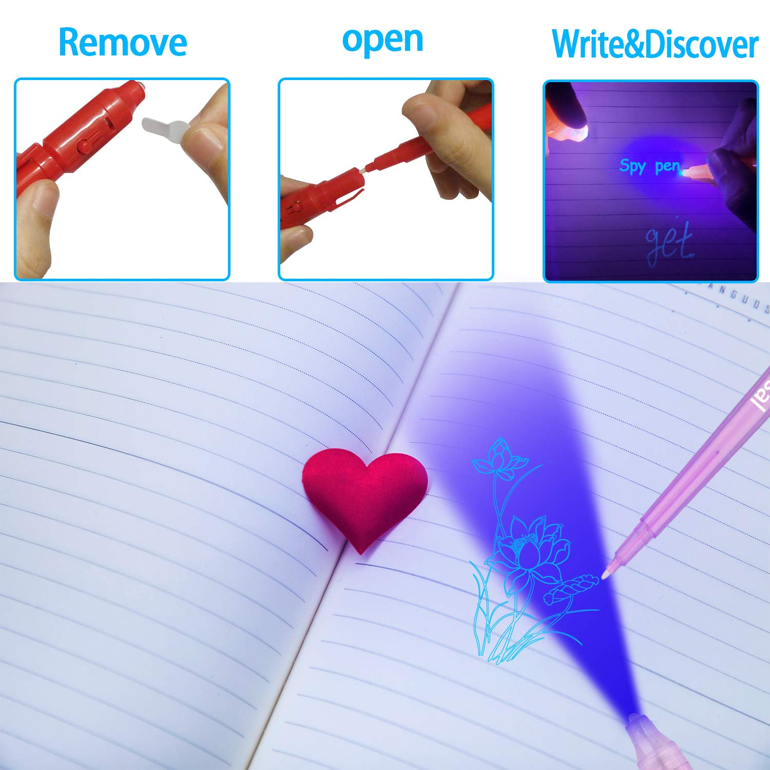 Jasal Invisible Ink Pen,Secrect Message pens,Magic Marker with UV Light Spy Pen for Gift,Kid Party Favor and Stock stuffier 8 Pack