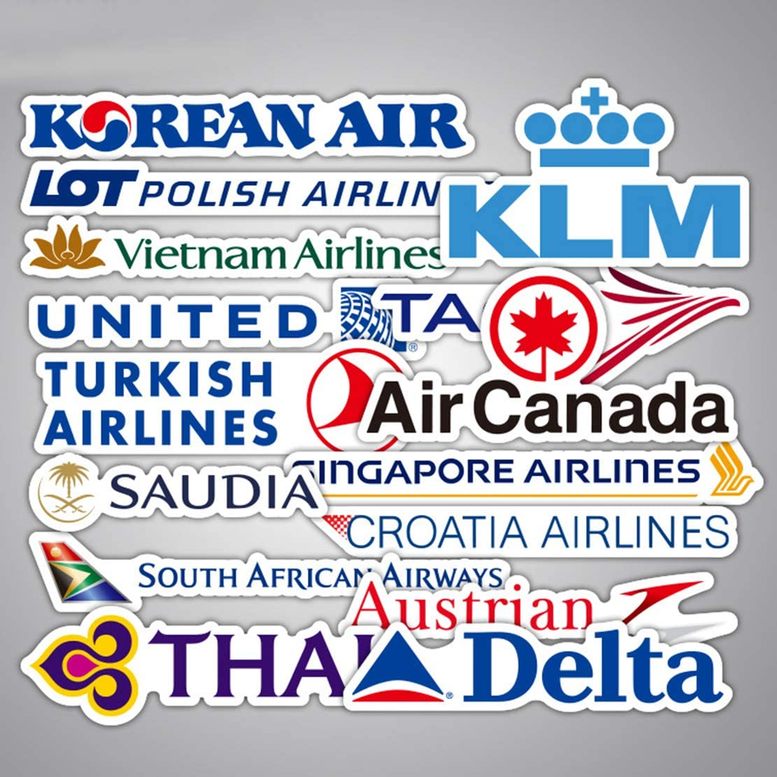 ARPA 55Pcs Airline Logo Stickers for Laptops Books Cars Motorcycles Skateboards Bicycles Suitcases Skis Luggage Cup Hydro Flasks etc DXQX