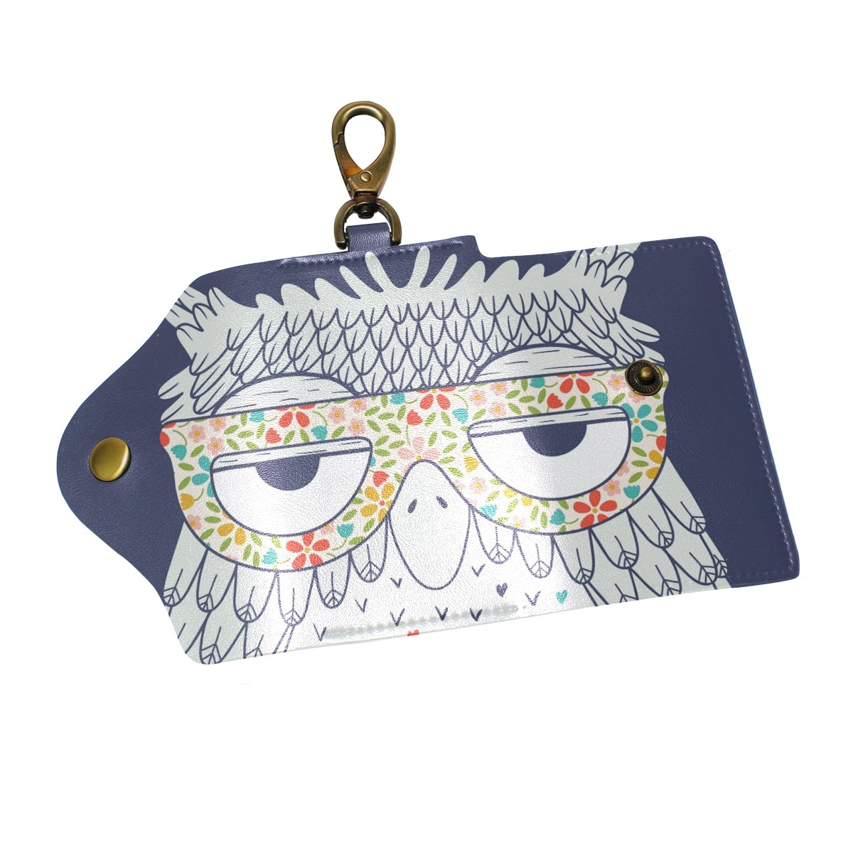 DEYYA Owl Pattern Leather Key Case Wallets Unisex Keychain Key Holder with 6 Hooks Snap Closure