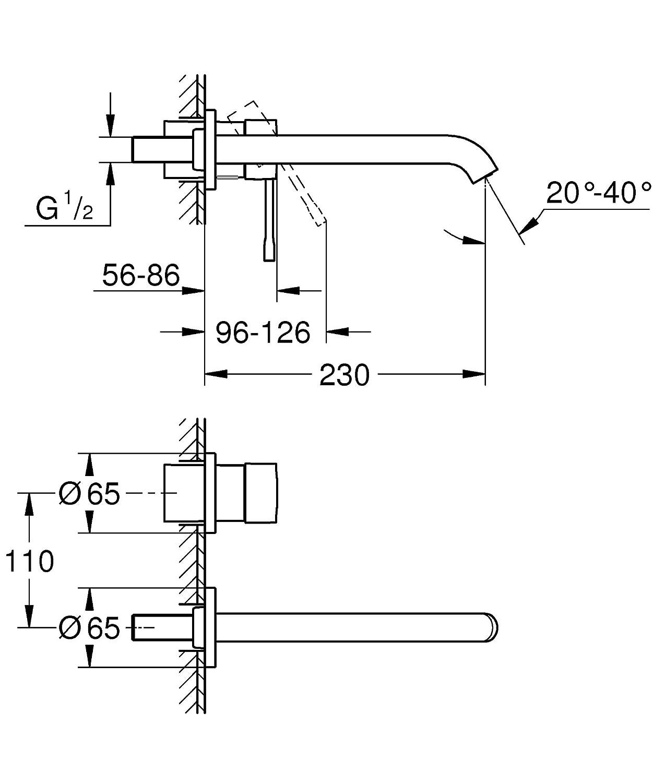 aireador Grohe AquaGuide tecnolog/ía Grohe EcoJoy kit para montaje final Grohe Essence cuerpo empotrado no incluido Grifo de lavabo de doble agujero con sistema de montaje en pared 19967001