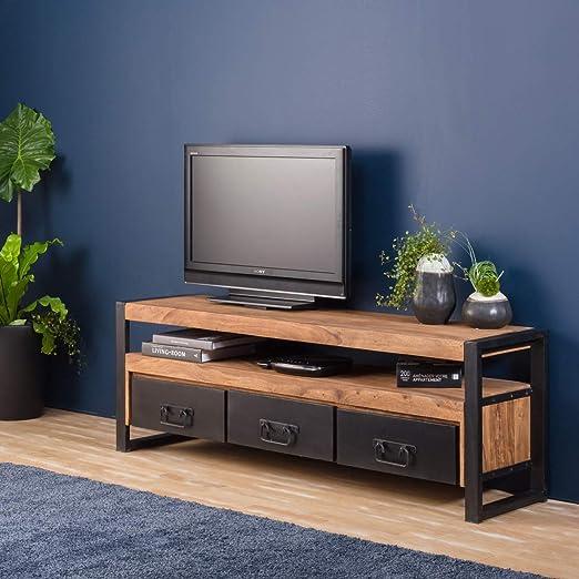 Mueble para televisor madera maciza y metal, 3 cajones 160 Industry RA9A: Amazon.es: Hogar