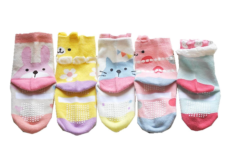 Baby Girls Anti Slip Socks Infants No-Slip Socks for and Toddlers 5 Pair Pack