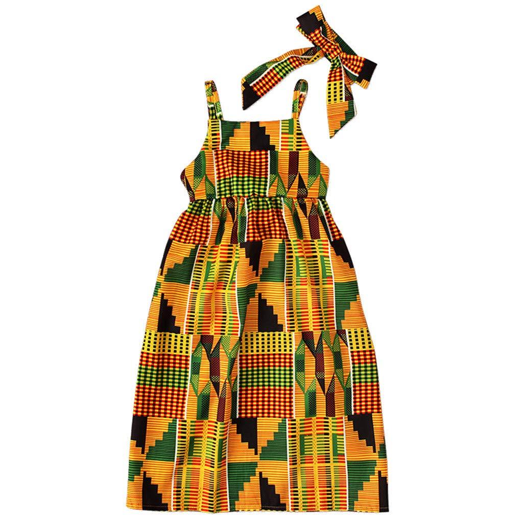 1-5Years,SO-buts Toddler Baby Girls Fashion Summer African Print Boho Off Shoulder Sleeveless Princess Casual Dress+Hair Band