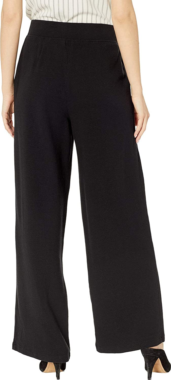 Michael Stars Women's Brea Pebble Knit Deep Pleat Pants Black sYamn