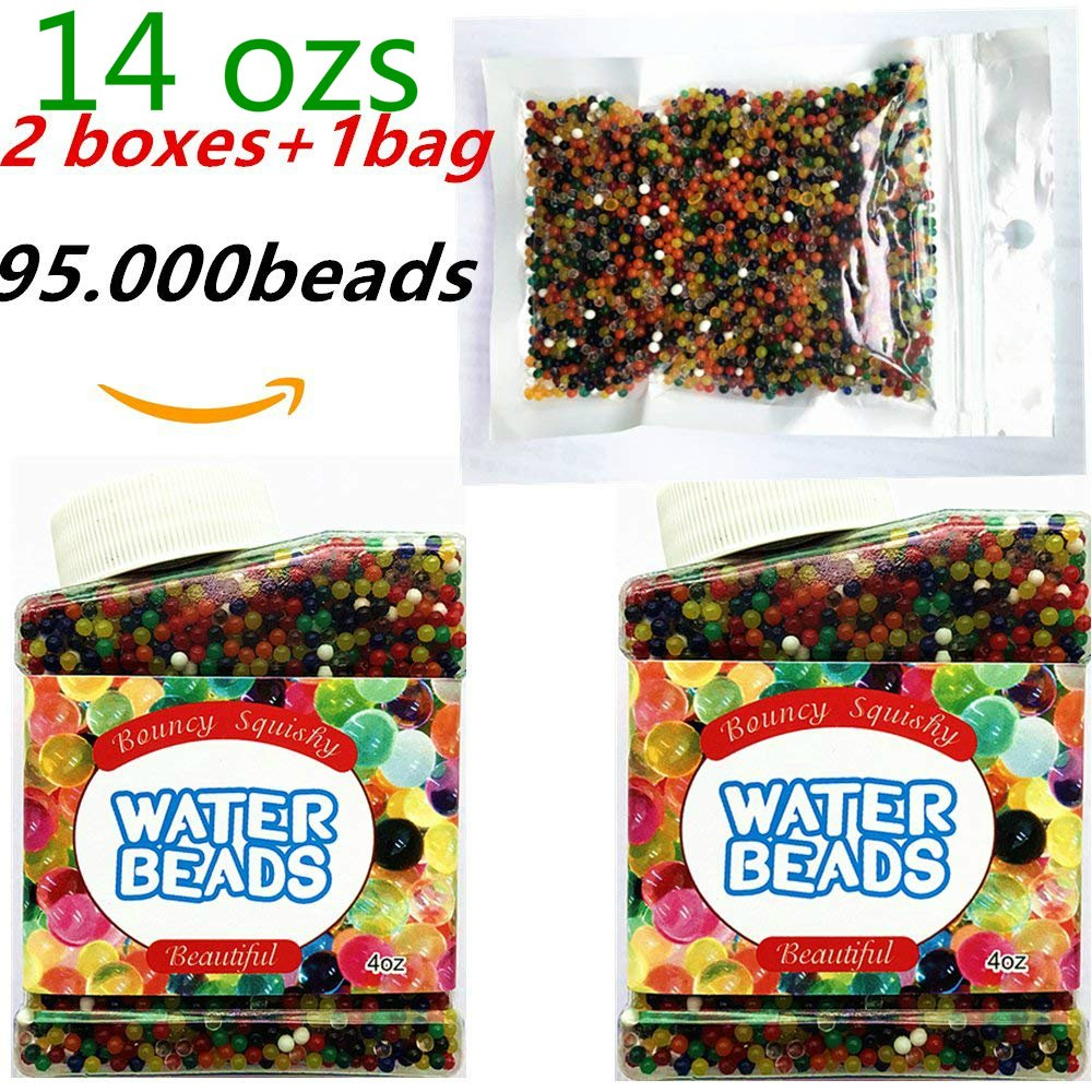 AFUNNY Water Beads 2 boxes and 1 bags weight of 14 OZS 95.000 beads Sooper Beads Crystal Soil Gel For Orbeez Refill, Sensory Toys, Vase Filler