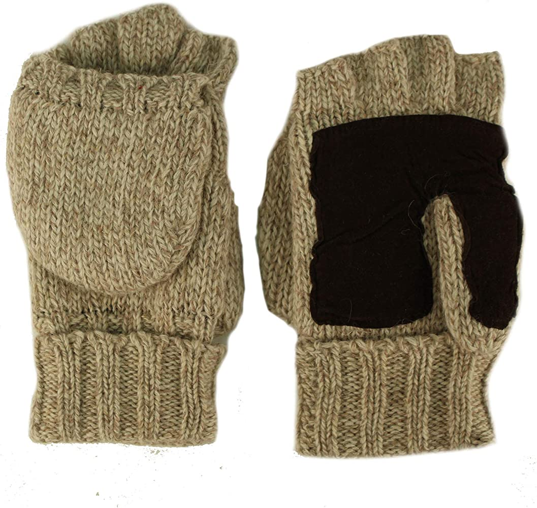 Mens Boys Thick Knit Fingerless Gloves Mittens Space Dye Knit New Free P/&P