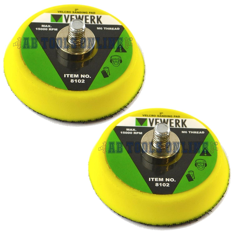 2 / 50mm Sanding Polishing / Backing Pad With M6 Thread For Air Sander 2PK AB Tools